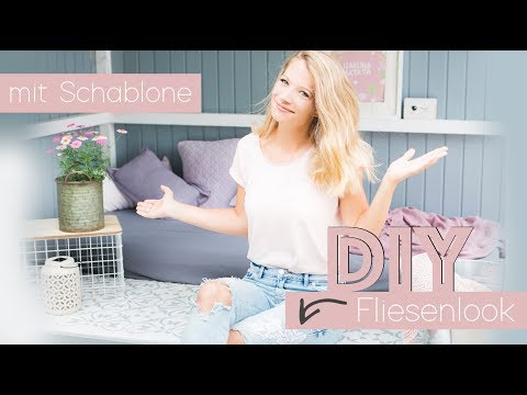 Nine macht´s ... DIY Fliesenlook Schablone malen // delari
