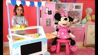 Minnie Mouse ICE CREAM Cart / Pretend Play Wooden Food Popsicles & Ice Cream Cones