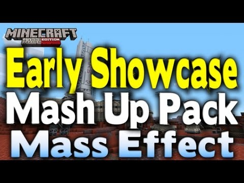 Minecraft Xbox 360 - EARLY MASH UP PACK REVIEW   All New Skins + LIVESTREAM (Mass Effect Edition)