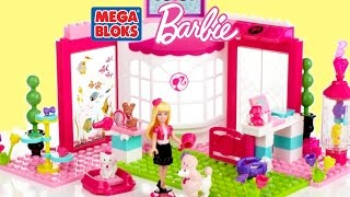 Barbie Lego Mega Bloks Barbie Build N Play Pet Shop Barbie Doll & Cute Puppies | TheChildhoodLife