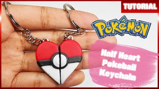 Half Heart Pokeball Keychain ✰ Tutorial ✰ Polymer Clay ✰ Porcelana Fría