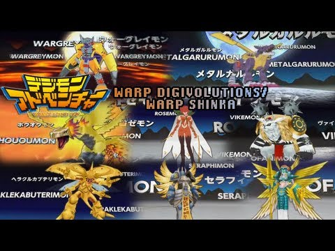 Digimon Adventure Psp - All Warp Digivolves warp Shinka mega Levels! video