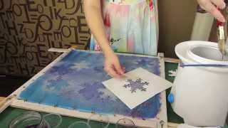 DIY silk painting with hot wax how to draw step by step Snow in hot Batik technique