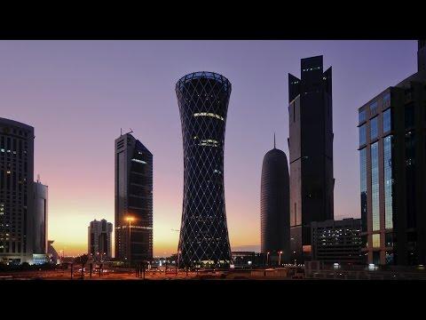 Qatar Doha right to left Palm Tower Burj Qatar Tornado Tower TIME LAPSE stock footage