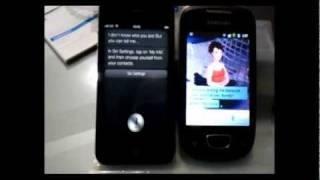 Siri (iPhone4S) VS Speaktoit (Android - Samsung Galaxy Mini)
