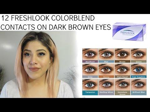 12 Freshlook Contacts on Dark Brown Eyes