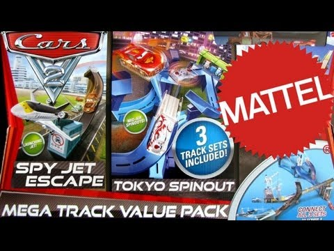 CARS 2 MEGA TRACK LAUNCHER Value Playset Tokyo Spinout, Spy Jet Escape, Barrel Blowout Speedway