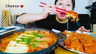 (Recipe Mukbang)Cheese Stuffed Kimchi Pancake + Kimchi Spam Stew Kimchi themed Mukbang!