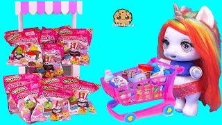 Baby Unicorn + Shopkins Shopping Cart! Surprise Squishy Blind Bags