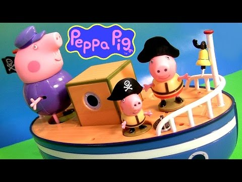 Play Doh Pirate Peppa Pig On Grandpa's Boat Muddy Puddle Bathtime Toys   Barco Del Abuelo Playdough