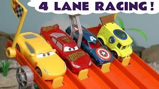 Cars Lightning McQueen Hot Wheels 4 Lane Racing with Spongebob and funny Funlings Cars TT4U