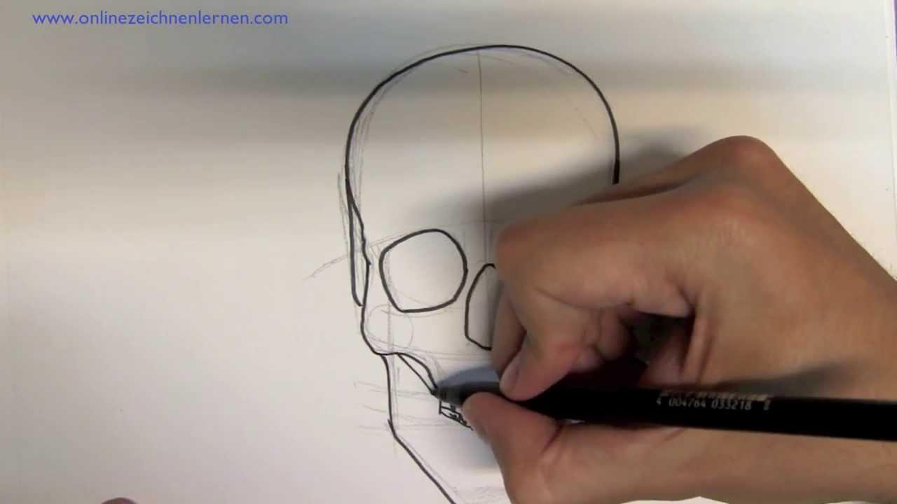 wie zeichnet man einen totenkopf online zeichnen lernen. Black Bedroom Furniture Sets. Home Design Ideas