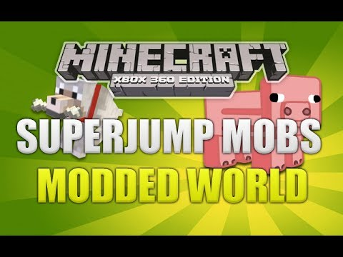 Minecraft Xbox 360 - NEW Modded World Super Jump Mobs W/ Download (NEW MODS)