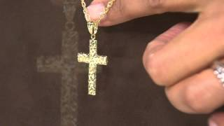 EternaGold Diamond Cut Polished Cross Pendant 14K Gold with Rachel Boesing