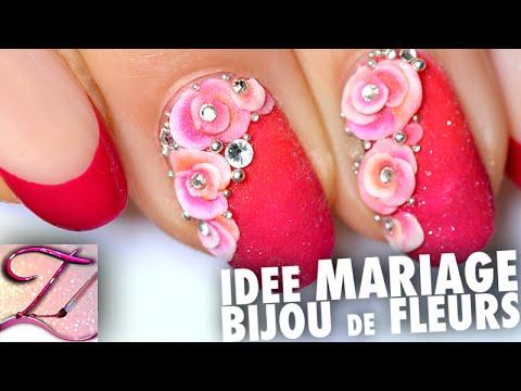 Tuto nail art idée mariage : bijou de fleurs résine 3D