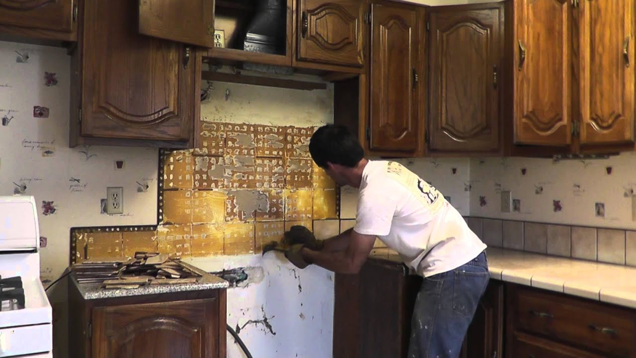 how to install granite countertops on a budget part 1 removing the old tile youtube. Black Bedroom Furniture Sets. Home Design Ideas