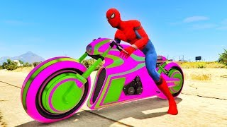 LEARN COLORS Fun Bike and SPIDERMAN w Superhero Animation Cartoon for kids #1