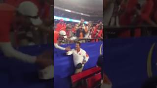 TigerNet.com - Dabo Swinney celebrates with Clemson fans after Fiesta Bowl win