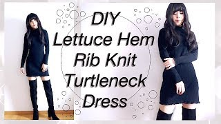DIY Lettuce Hem Turtleneck Dress / KPOP OUTFITS / Fashion Clothes / Sewing Tutorialㅣmadebyaya
