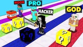 Minecraft Battle: NOOB vs PRO vs HACKER vs GOD : SUPER LUCKY BLOCK RACE Challenge in Minecraft