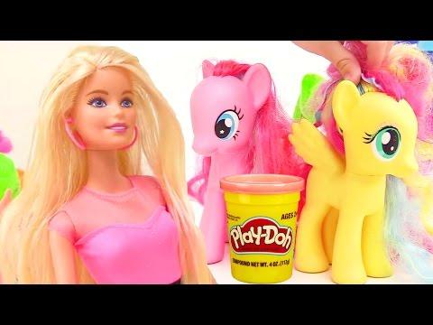 Пластилин ПЛЕЙ ДО. Лепим торт на День Рождения Барби. Play-Doh Barbie Birthday Cake