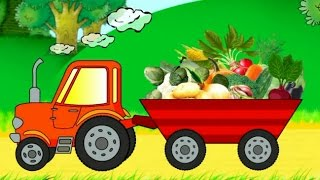 Learning vegetables. Cartoon about a tractor. Developing cartoon