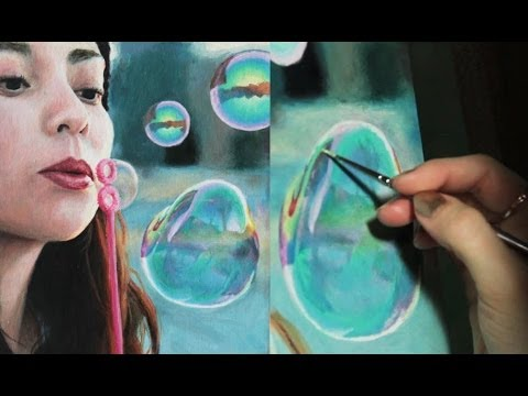 Time Lapse Painting : Realistic Bubbles (oil)