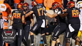 Oklahoma State upsets No. 9 West Virginia in the final minute 45-41 | College Football Highlights