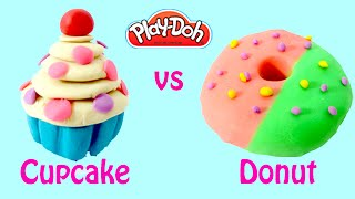 Playdoh | Play Doh Cupcakes vs Playdough Donuts