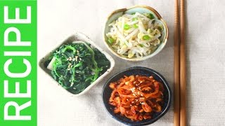 [KpopKcook+ Recipe] THE MOST COMMON Korean Side Dishes( Spinach, Mung Bean Sprouts, Dried Radish)