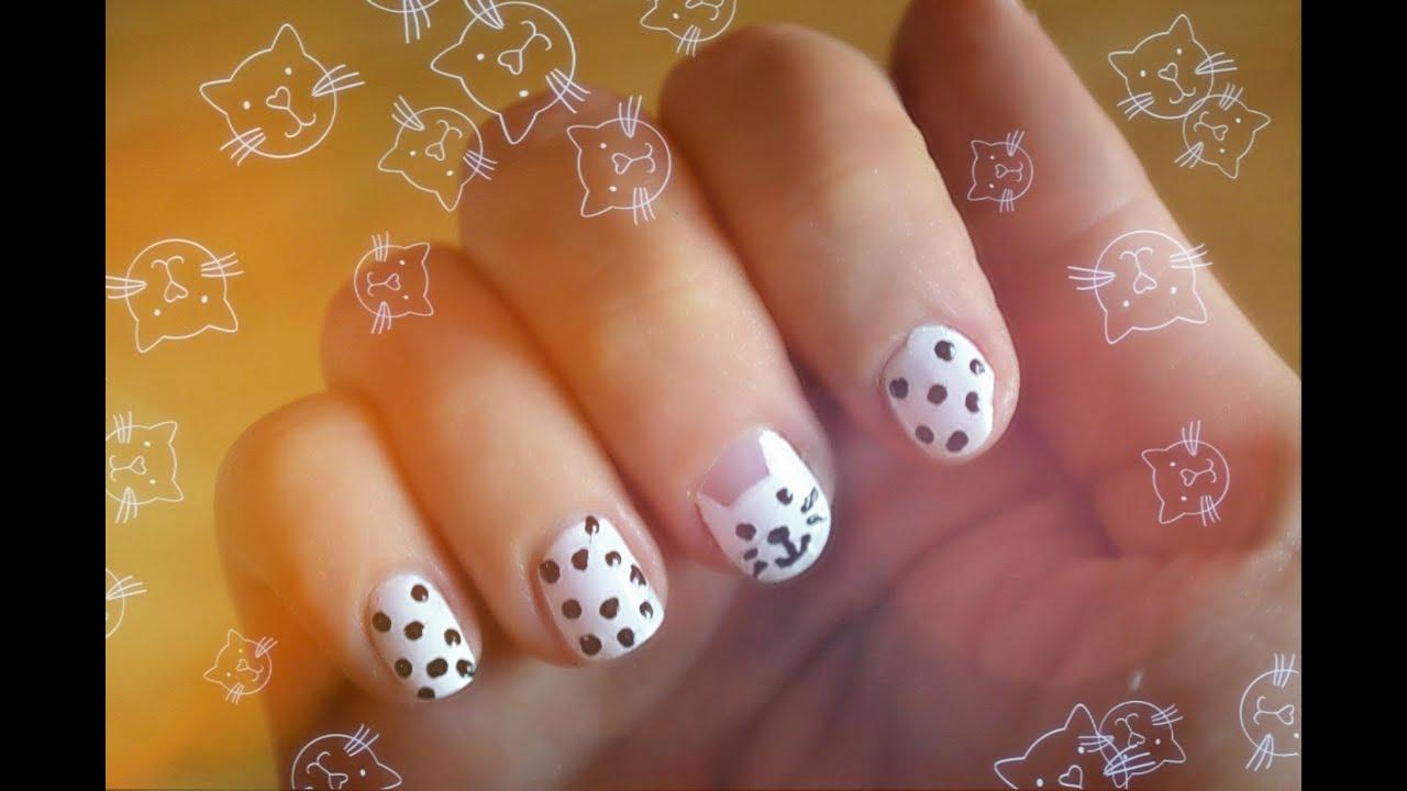 Рисунки кошек на ногтях