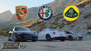 4C, Cayman, & Elise on California's best roads - Affordable Exotics - Everyday Driver TV Episode