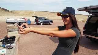 Bonnie shooting the Ruger .45