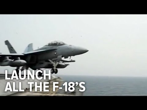 Watch a US Navy aircraft carrier launch all its F-18 fighter jets