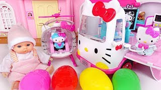 Hello kitty ambulance, helicopter rescue play and surprise eggs - PinkypopTOY