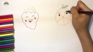 How to draw fruits and coloring with colour pencil/ teaching kid some colores