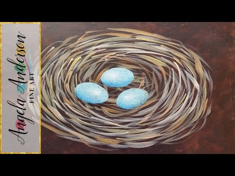 Bird Nest Acrylic Painting Tutorial - Free Beginner Art Lesson video