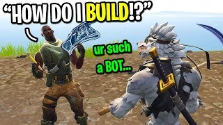 I pretended to be the biggest BOT in Fortnite random duos... (Fake Noob)