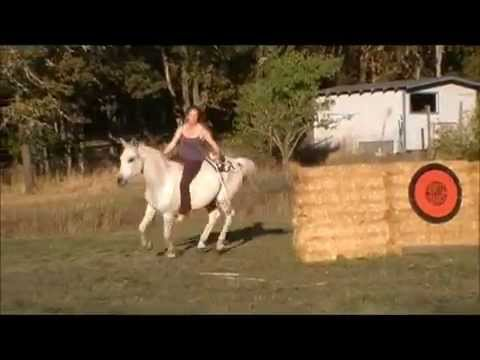 Katie and Jebe: reinless riding and horseback archery.