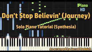 Don 39 T Stop Believin 39 Journey Jarrod Radnich Piano Solo Synthesia Pianohd