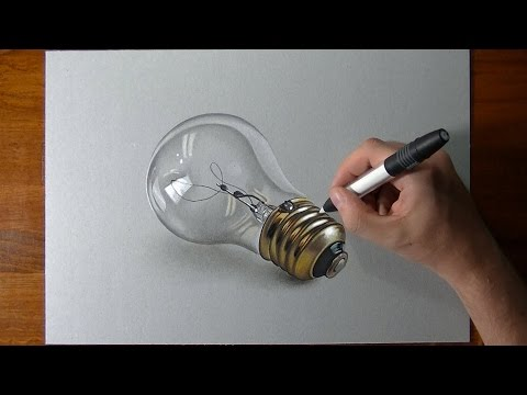 How I draw a realistic lightbulb 2