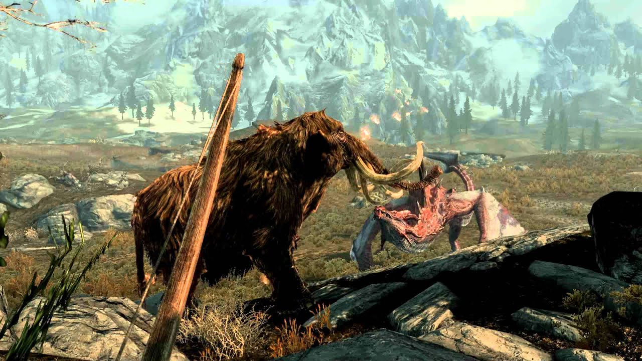 Skyrim Mammoth vs Dragon Skyrim Mammoth Hunting With