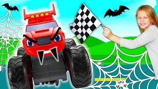 Blaze and The Monster Machines in Silly Spooky Race with PJ Masks