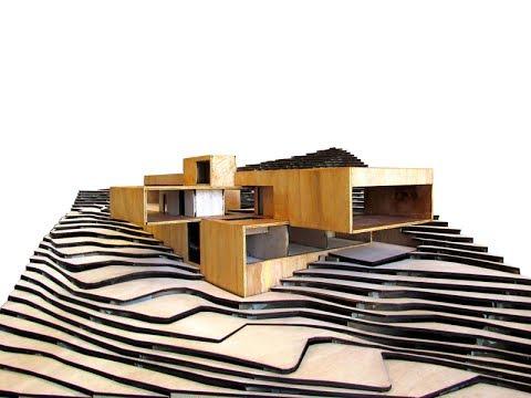 Dise o de casa moderna en la monta a planos y maqueta for Casa moderna en la montana