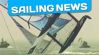 A major crash, 4 catamaran capsize, 1 broken mast , major crash... in eXtreme Sailing Series