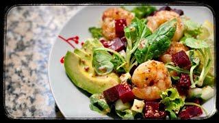 Easy Healthy Sautéed Shrimp & Avocado Beet Salad in 10 minutes (dairy free, gluten free, lowcarb)