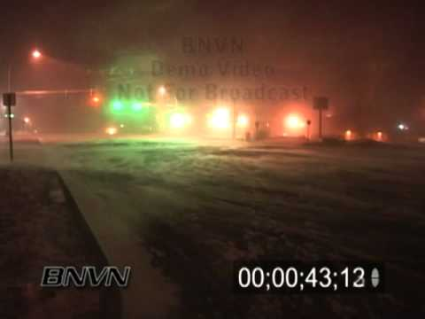 3/11/2004 Overnight high winds and snow stock video