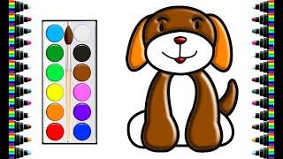 Vẽ và tô màu con chó | Drawing and coloring dog | trang màu cho bé | bé yêu