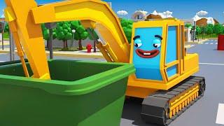 Çizgi filmi - Sarı Ekskavatör bir top ile oynar - Akıllı arabalar
