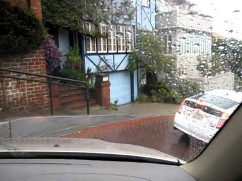 Driving down Lombard Street in the rain